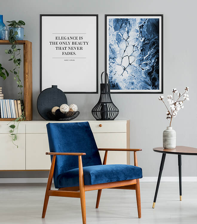 Posterset incl. frames - Blue Elegance